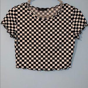 Checkered Print Crop Top